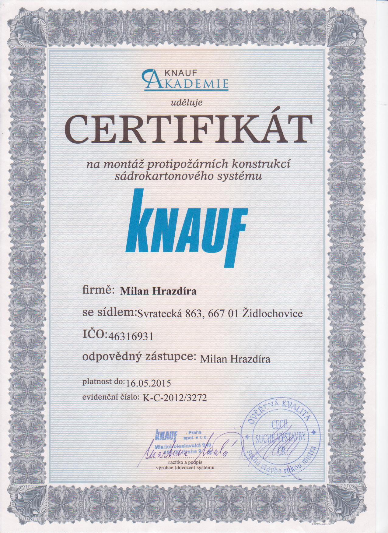 Certifikát KNAUF protipožární konstrukce
