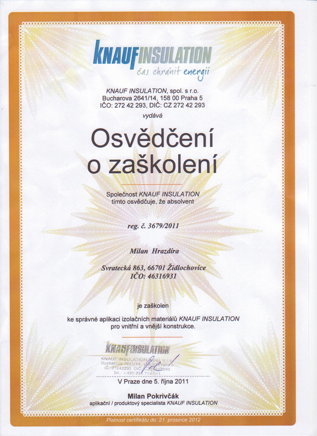 Certifikát KNAUFINSULATION