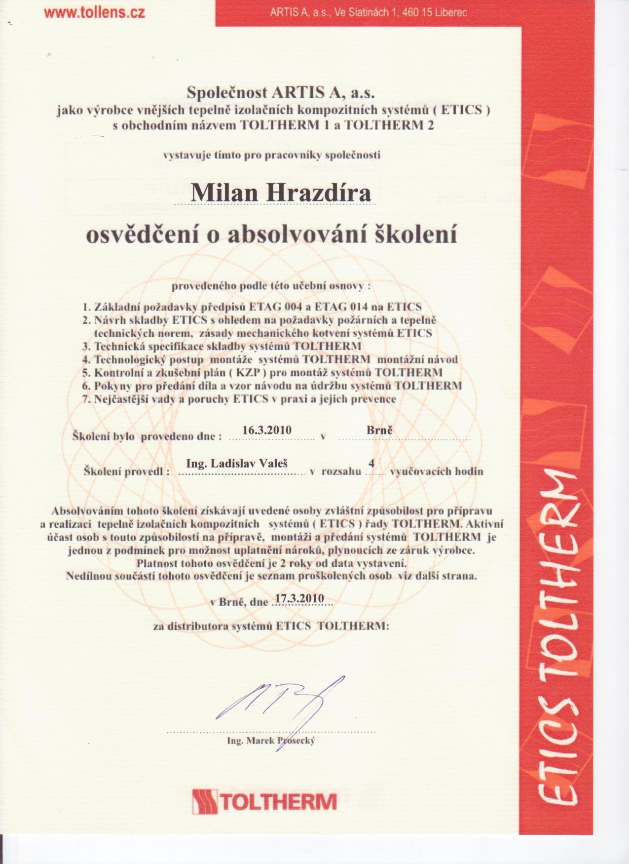 Certifikát Toltherm