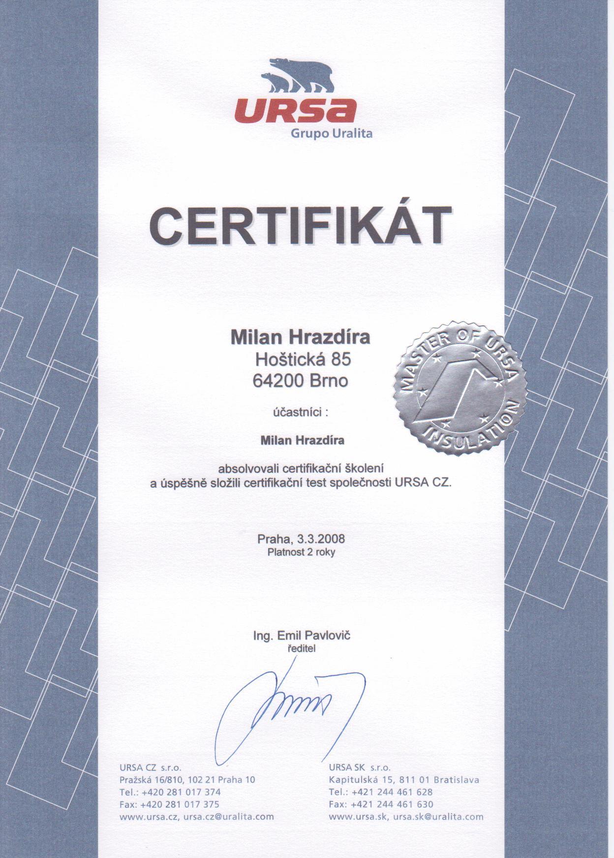 Certifikát URSA