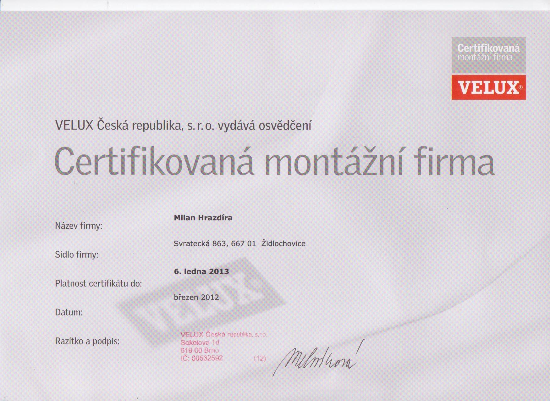 Certifikát Velux