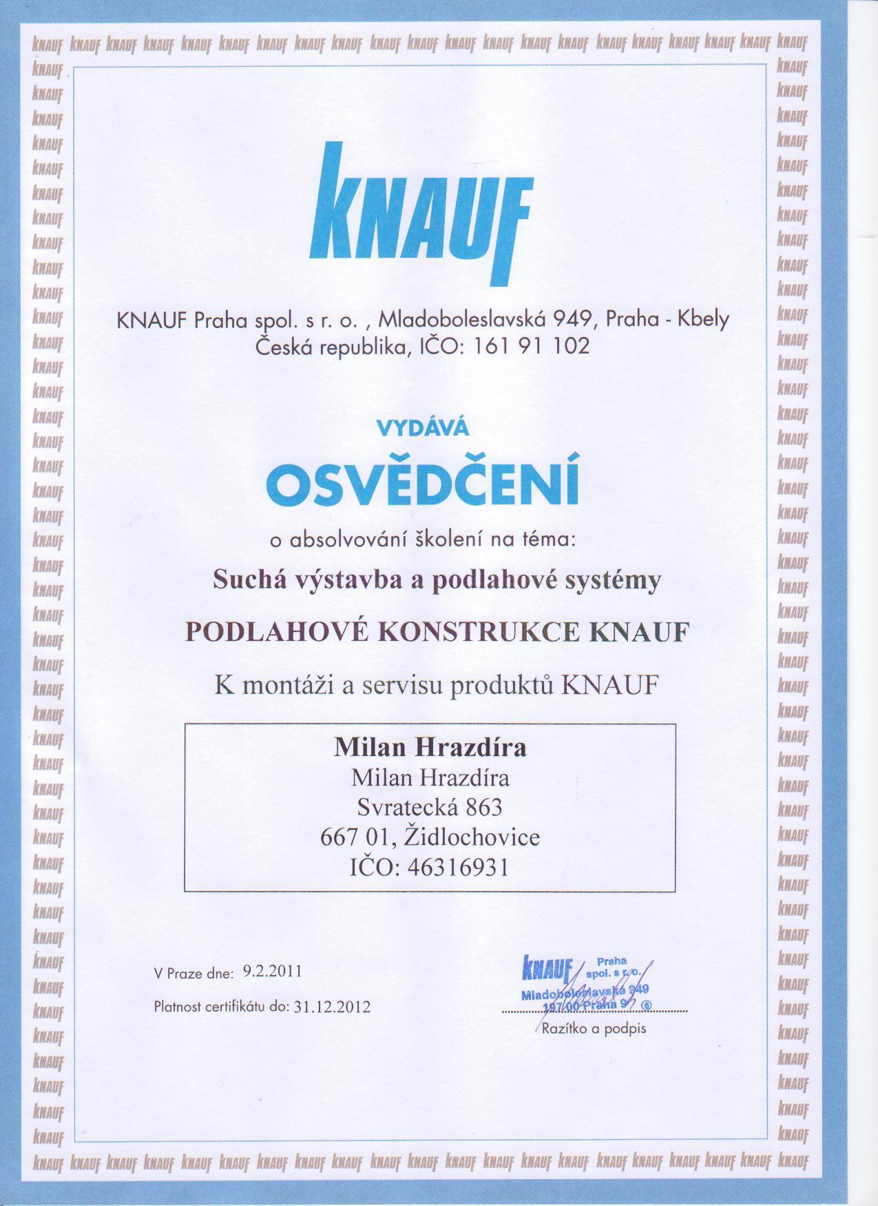 Osvědčení KNAUF podlahové konstrukce