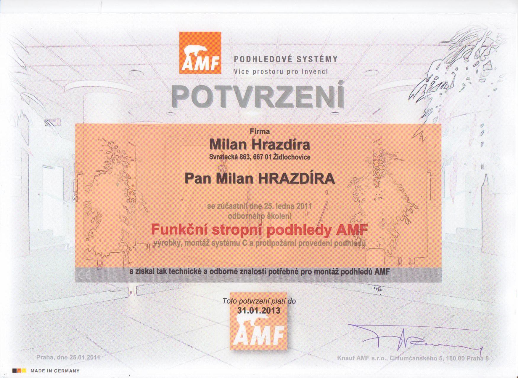 Certifikát KNAUF AMF stropní podhledy