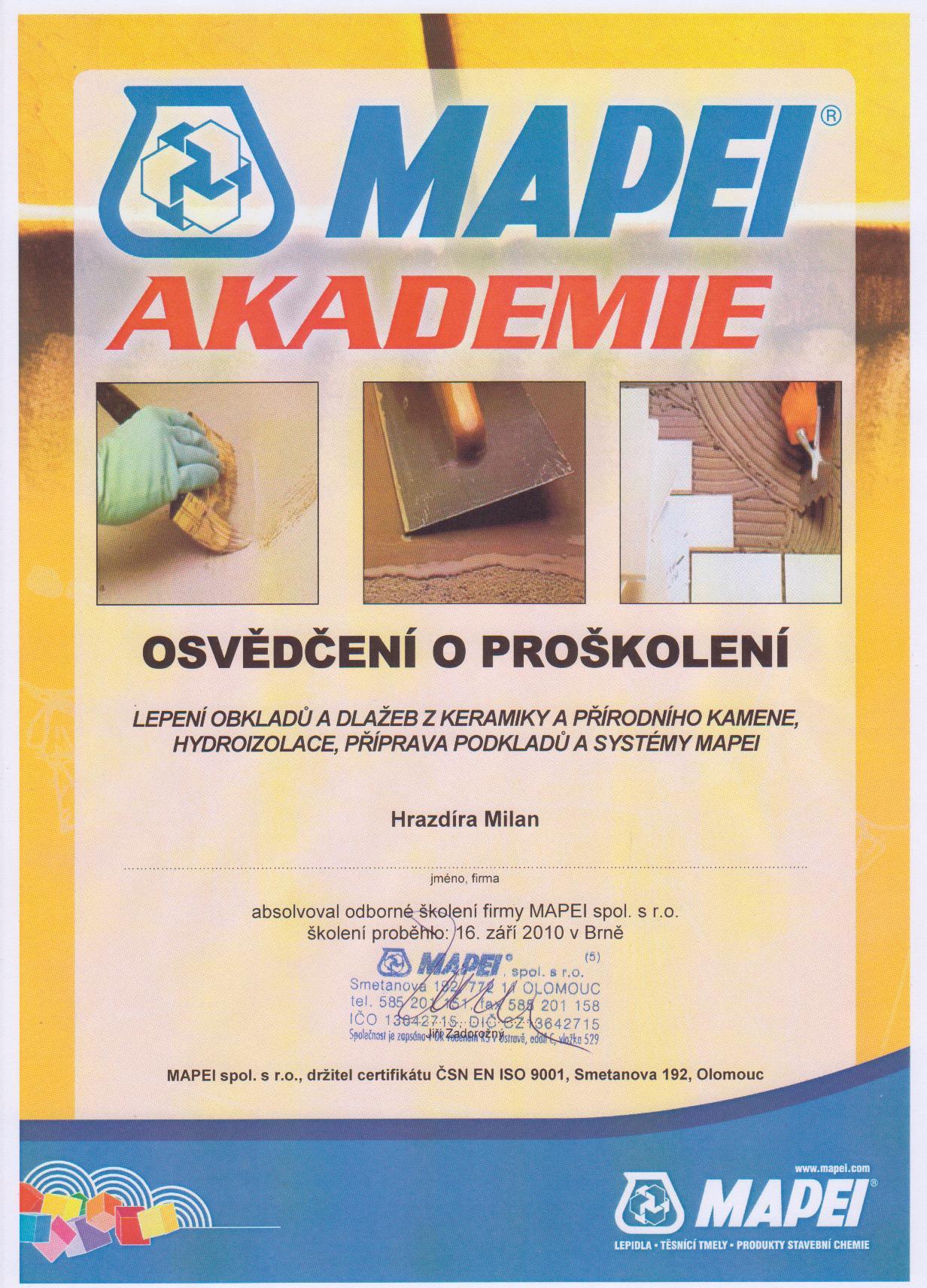 Osvědčení MAPEI