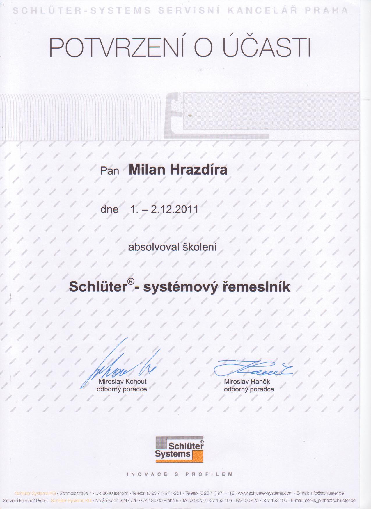 Certifikát Schlüter Systems