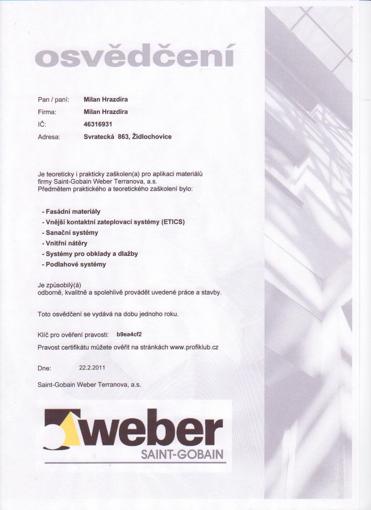 Osvědčení WEBER